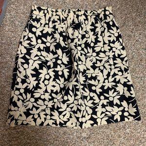 navy/cream floral j crew sidewalk skirt NWOT